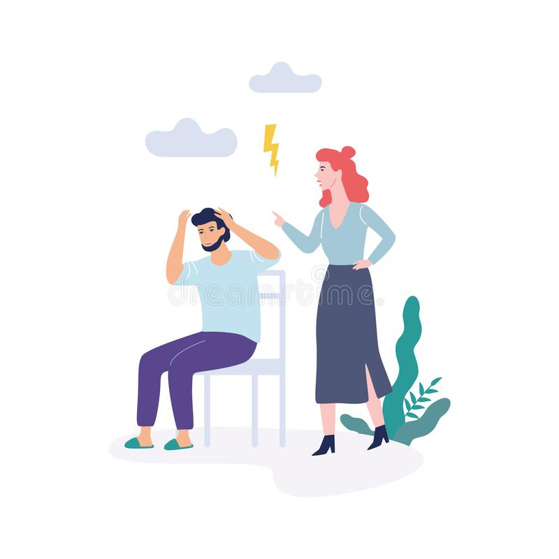 Problems in family. Woman and man, quarrel and divorce. Concept. Conflict between mother and father. Isolated vector illustration in flat style royalty free illustration