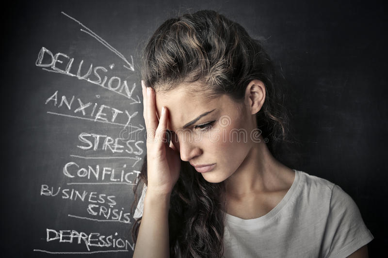 Problems. A girl has many problems stock photos