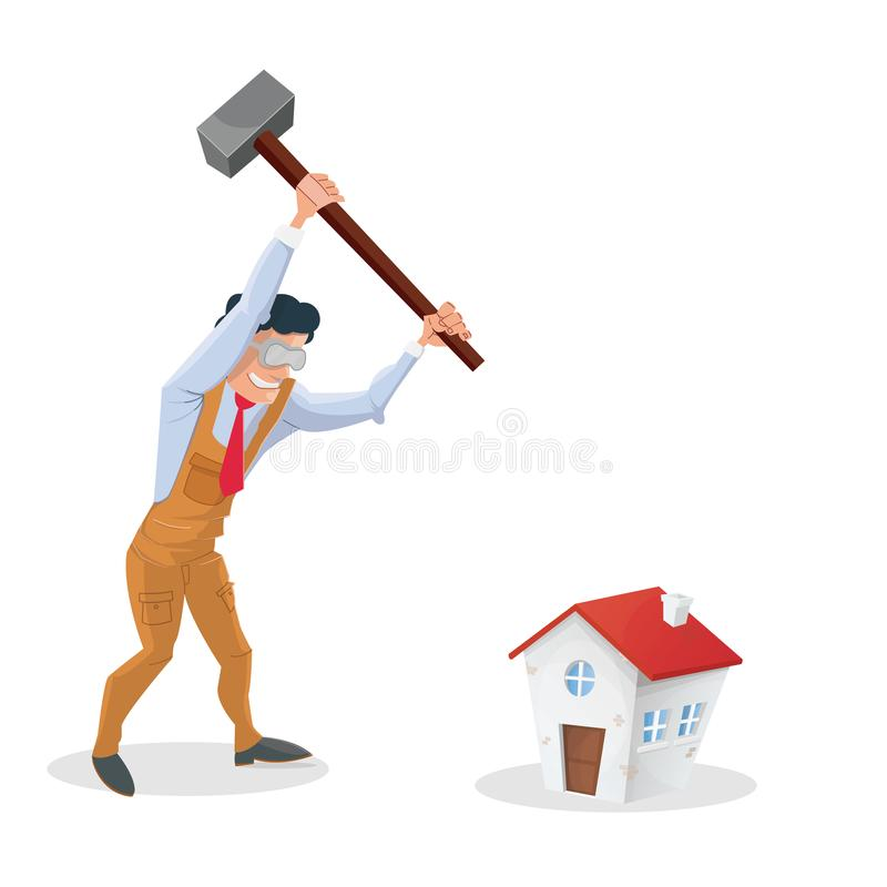 Problems house. Man. Problems house: man destroying his house royalty free illustration