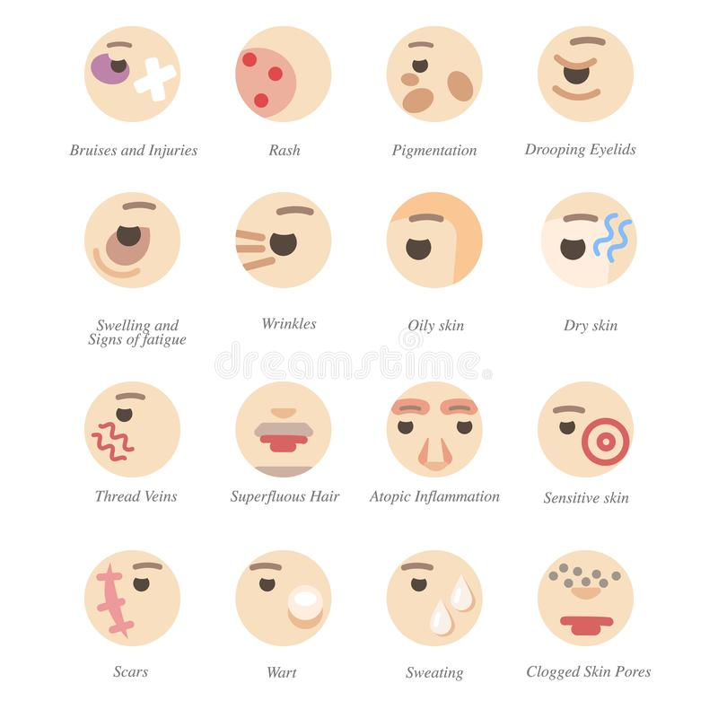 Problems with skin and face royalty free illustration