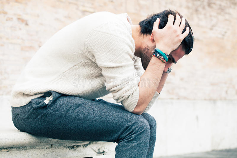 Problems and stress, stressed man royalty free stock photography