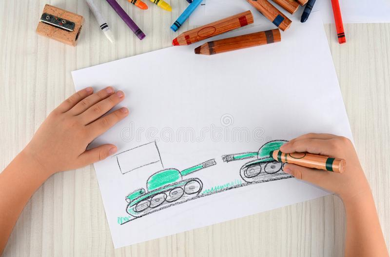The problems of of the two countries are drawing in the children`s drawing. The war problems of the two countries. royalty free stock photos