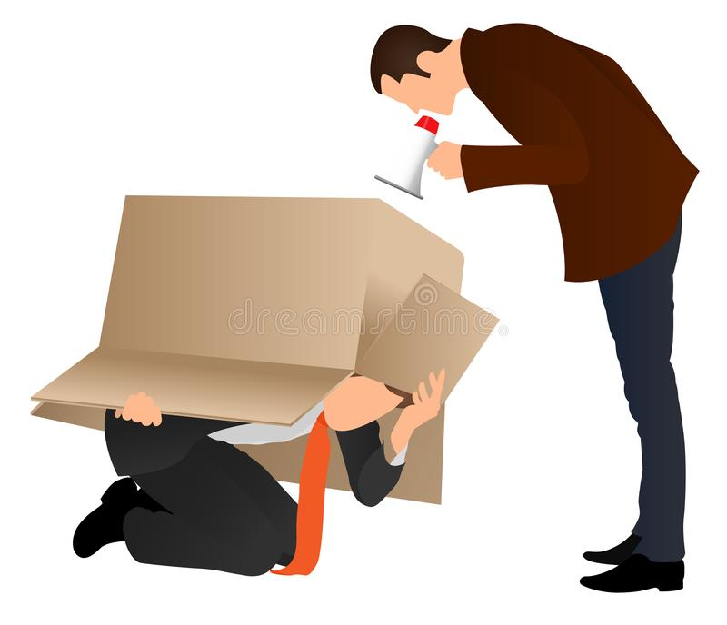 Problems at work. Businessman hiding under cardboard box. Boss screaming with a megaphone. Business concept. Angry boss yelling at. Employee for missing royalty free illustration