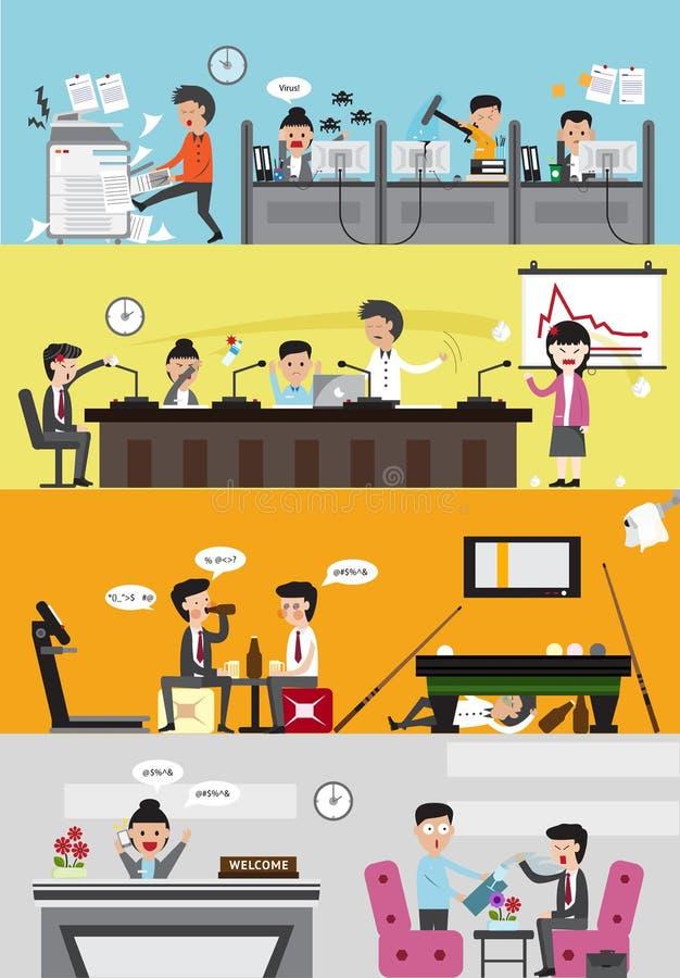 Problemy i katastrofy w kierować złej biznesowej firmy ilustracja wektor