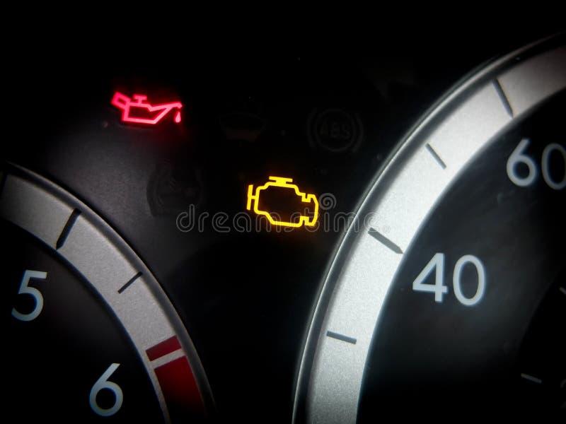 Problemy z silnikiem światło obraz stock