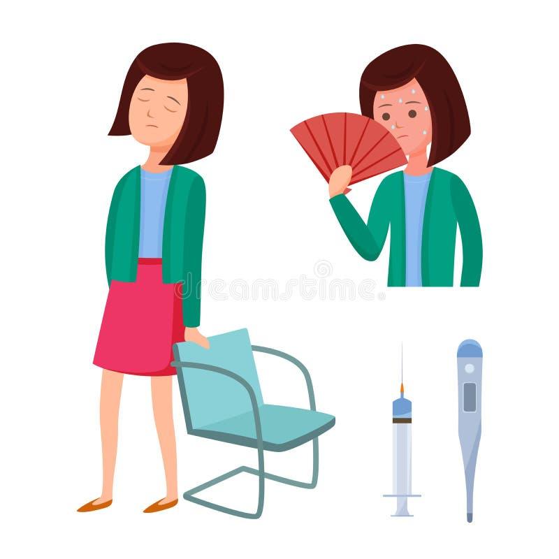 Problemy zdrowotni, Zika wirus Dziewczyna czuje niewygodę, złe samopoczucie, dizziness, febra royalty ilustracja