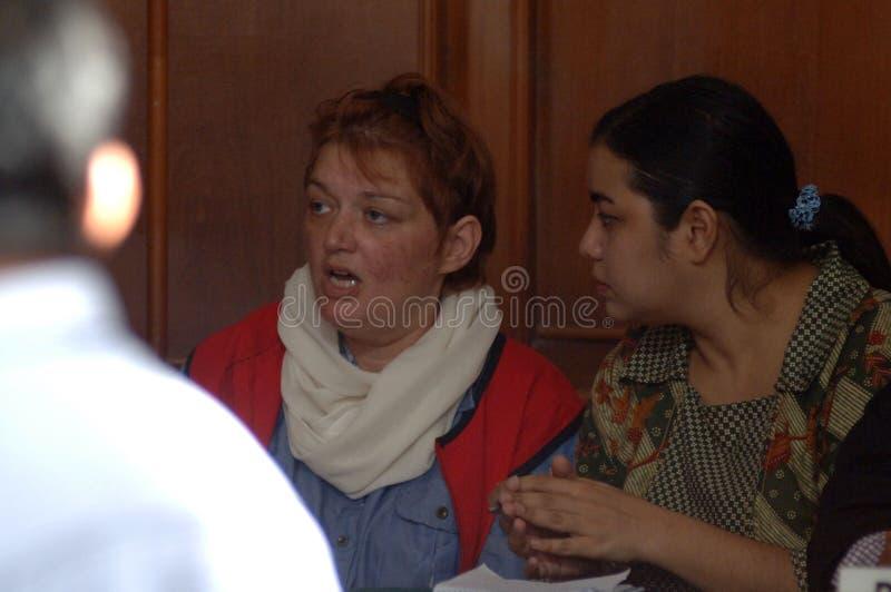 Procès de drogue de l'Indonésie Grande-Bretagne images stock