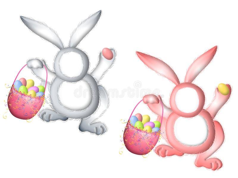 Procès de lapin de lapin de Pâques pour des visages illustration de vecteur