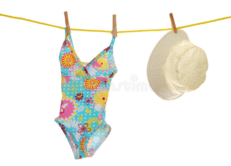 procès du chapeau s de corde à linge d'enfant de plage se baignante images stock