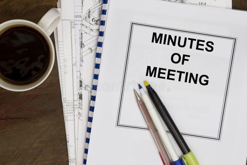 Procès-verbal d'une séance image stock