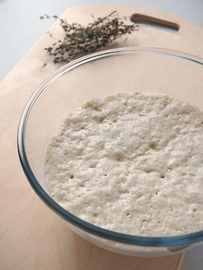 Procédé de cuisson Fermentation de la pâte Préparer la pâte à levure pour des petits pains, des pâtisseries ou la pizza Levain da photographie stock