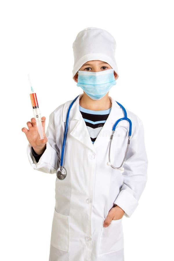 Procédure d'échantillonnage de sang Docteur avec une seringue photos stock