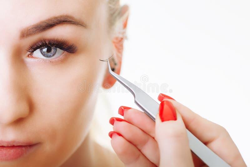 Procédure d'extension de cil Oeil de femme avec de longs cils Fermez-vous vers le haut, foyer sélectif photos libres de droits