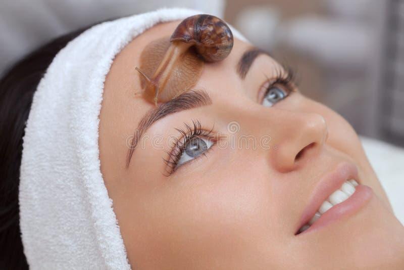 Procédure de Cosmetological Belle jeune femme avec un ahatin d'escargot sur son visage photographie stock