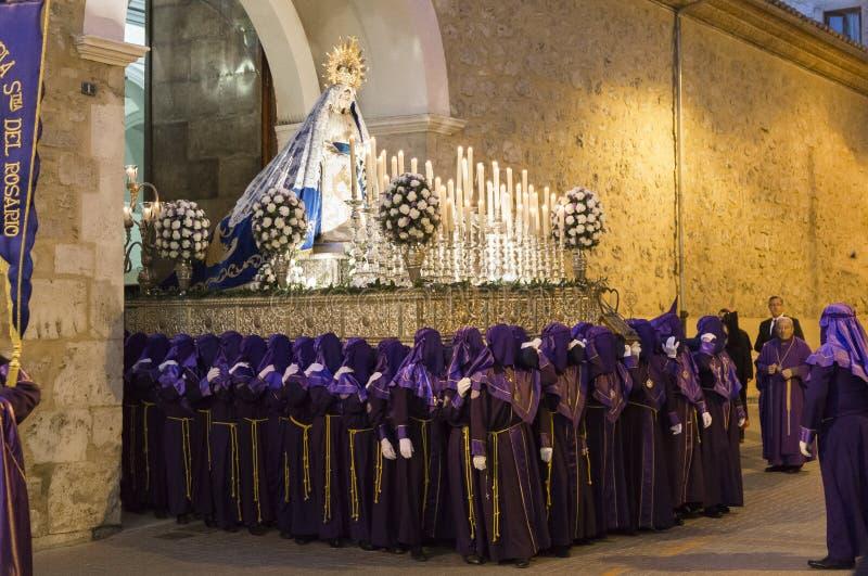 Proccesion in Teruel straten stock afbeelding