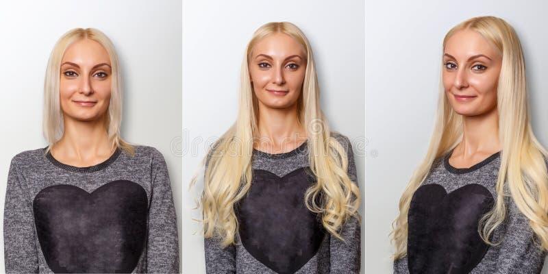 Procedimento das extensões do cabelo Cabelo antes e depois foto de stock royalty free