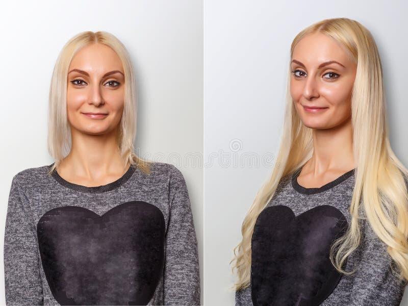 Procedimento das extensões do cabelo Cabelo antes e depois imagem de stock