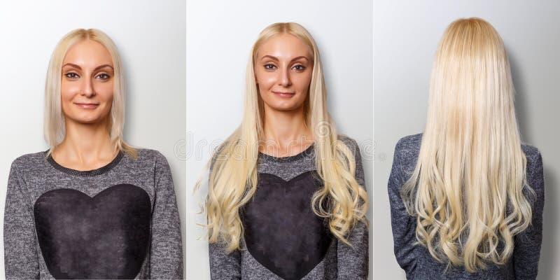 Procedimento das extensões do cabelo Cabelo antes e depois foto de stock