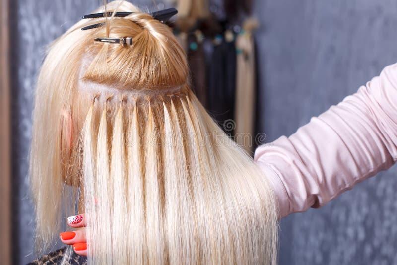 Procedimento das extensões do cabelo O cabeleireiro faz extensões do cabelo à moça, louro em um salão de beleza Foco seletivo fotos de stock