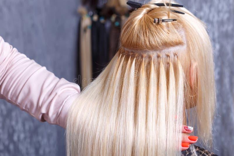 Procedimento das extensões do cabelo O cabeleireiro faz extensões do cabelo à moça, louro em um salão de beleza Foco seletivo imagens de stock royalty free
