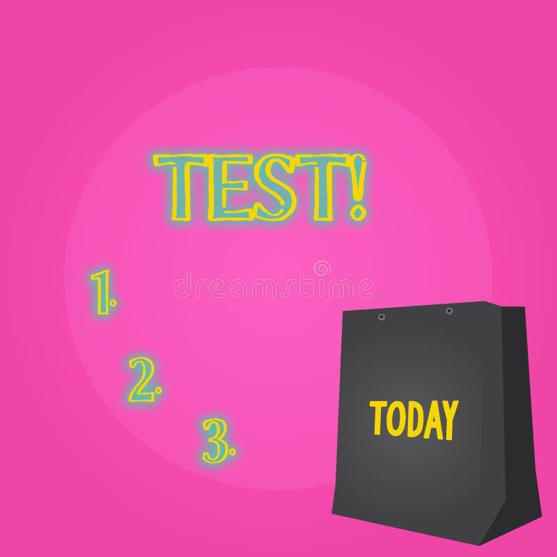 Procedimento sistemático acadêmico da foto conceptual do teste da exibição do sinal do texto para avaliar a cor da proficiência d ilustração stock