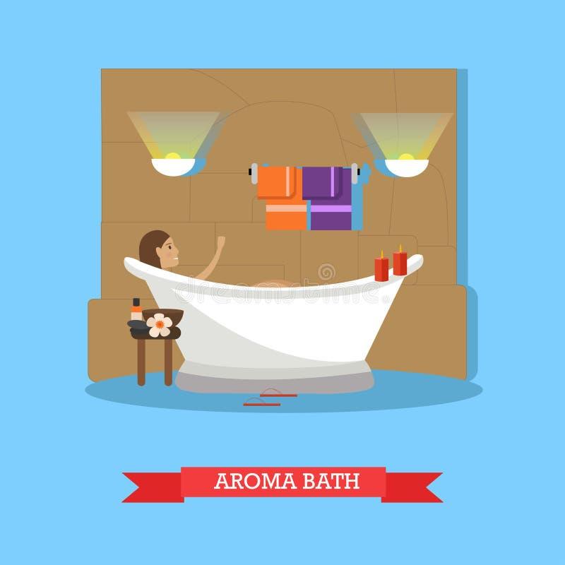 Procedimentos dos termas, ilustração do vetor do conceito do banho do aroma no estilo liso ilustração royalty free