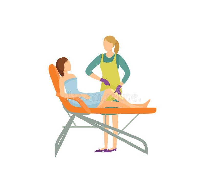 Procedimiento de la depilación en icono de la historieta del salón de belleza stock de ilustración