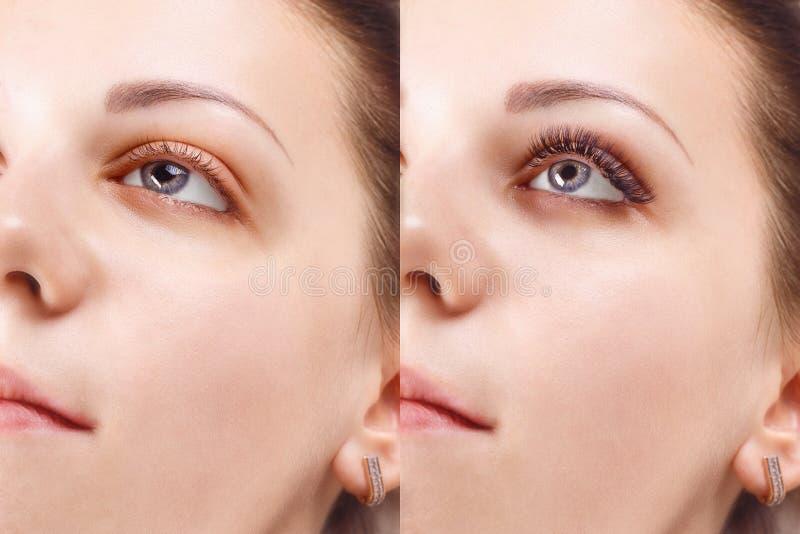 Procedimiento de la extensión de la pestaña La comparación de la hembra observa antes y después imagenes de archivo