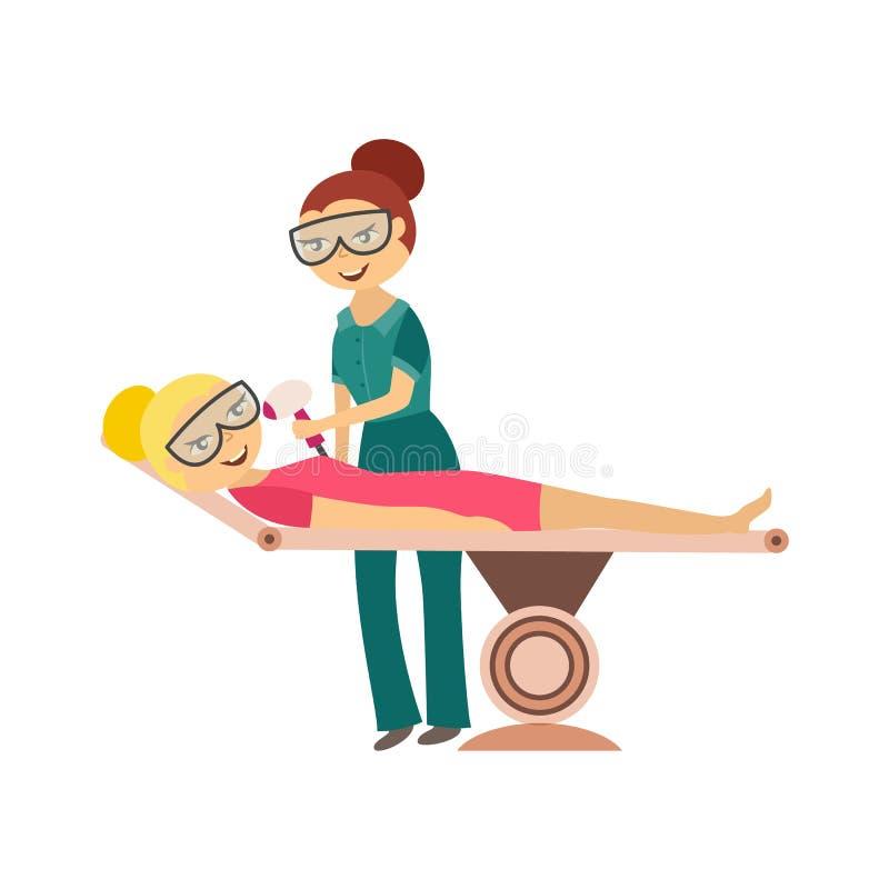 Procedimiento de retiro del pelo - mujer joven que consigue el laser o el epilation del IPL en la cara aislada en el fondo blanco ilustración del vector