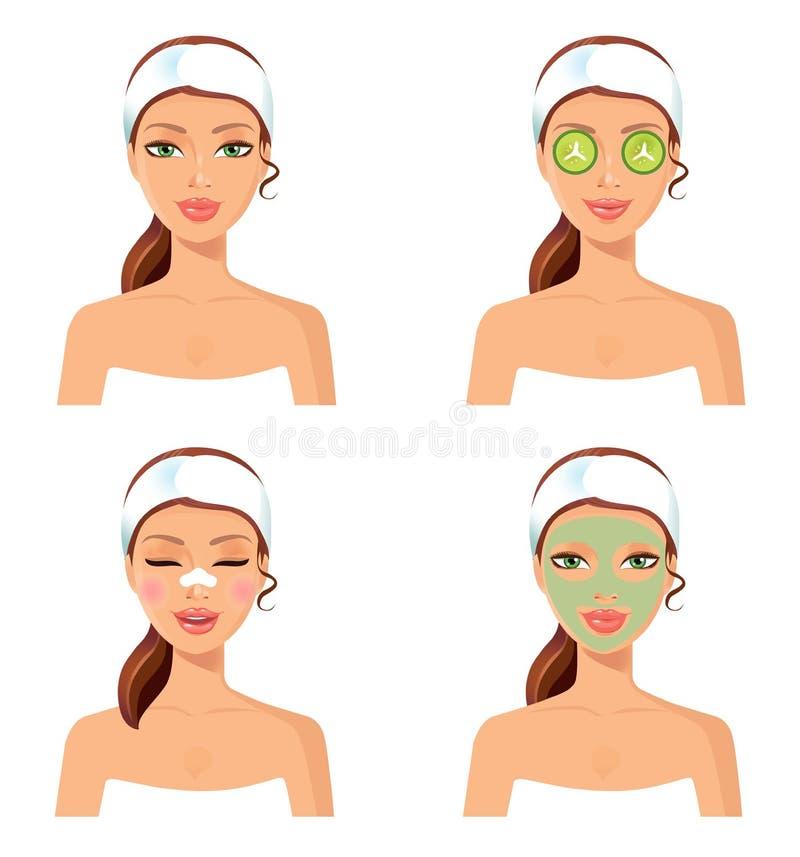Procedimiento del balneario Vector el ejemplo del las mujeres hermosas con el fac ilustración del vector