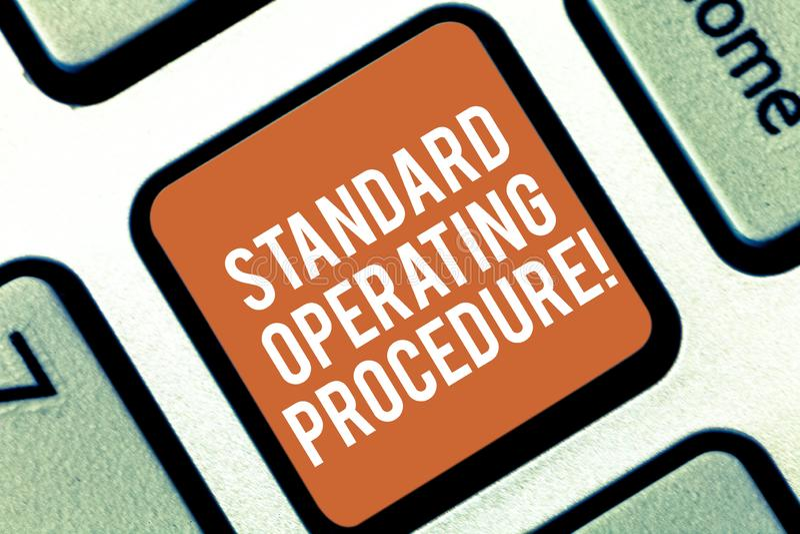 Procedimiento estándar conceptual de la demostración de la escritura de la mano El texto de la foto del negocio detalló direccion imagen de archivo libre de regalías