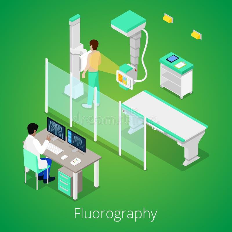 Procedimiento isométrico de Fluorography de la radiología con el equipamiento médico y el paciente stock de ilustración