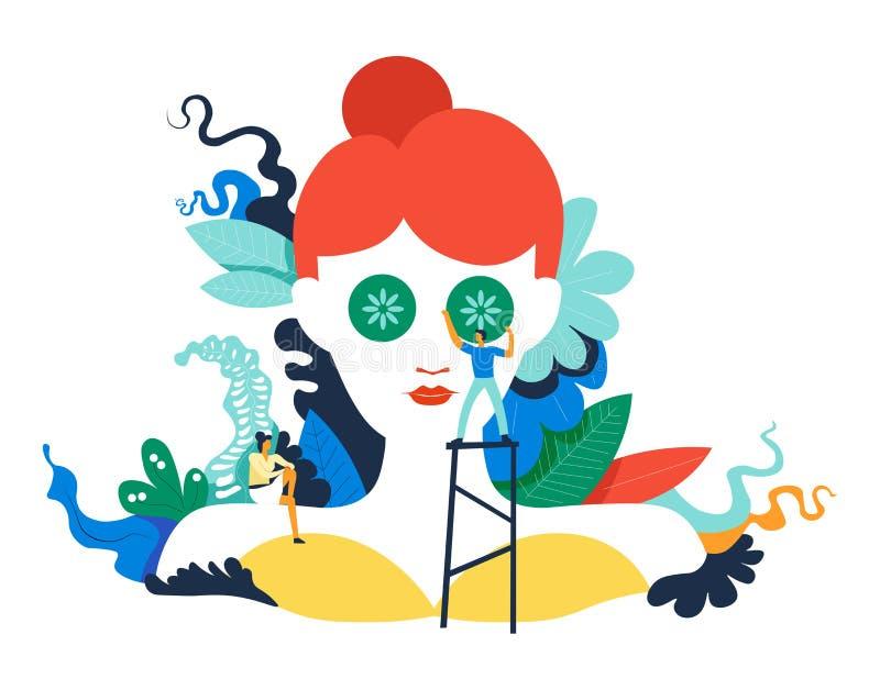 Procedimientos del balneario del salón de belleza hechos por vector de los especialistas libre illustration