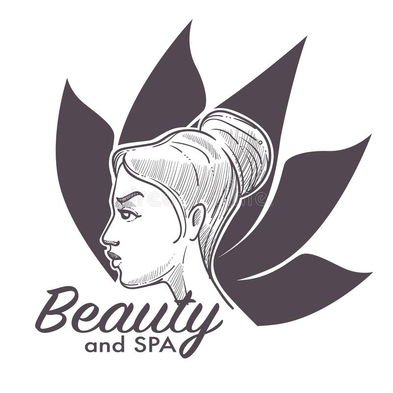 Procedimientos del balneario del salón de belleza que hacen a la mujer más sana y relajada ilustración del vector