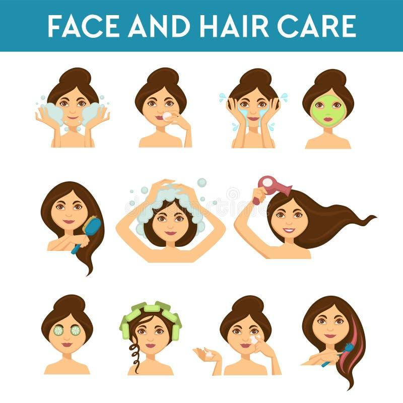 Procedimientos diarios de la belleza femenina de la cara y del cuidado del cabello libre illustration