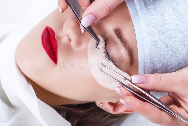 Procedura di estensione del ciglio Occhio della donna con i cigli lunghi Sferze, fine su, fuoco selezionato immagini stock