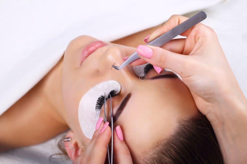 Procedura di estensione del ciglio Occhio della donna con i cigli lunghi Sferze, fine su, macro, fuoco selettivo fotografie stock libere da diritti