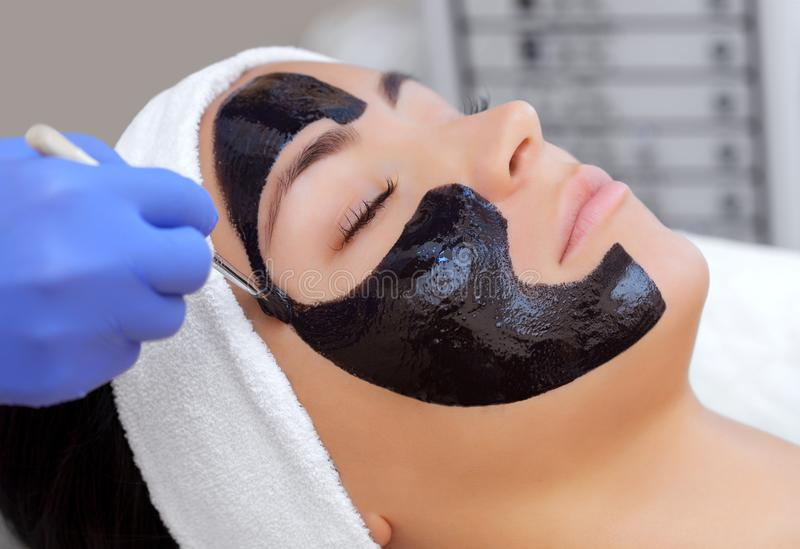 The procedure for applying a black mask to the face of a beautiful woman. Spa treatments and care of the cats in the beauty salon stock images