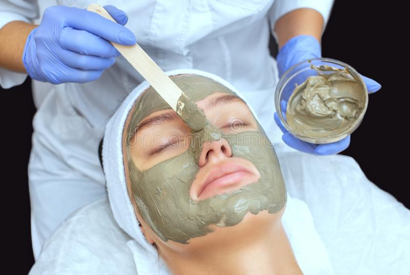 The procedure for applying a mask from clay to the face of a beautiful woman royalty free stock photos