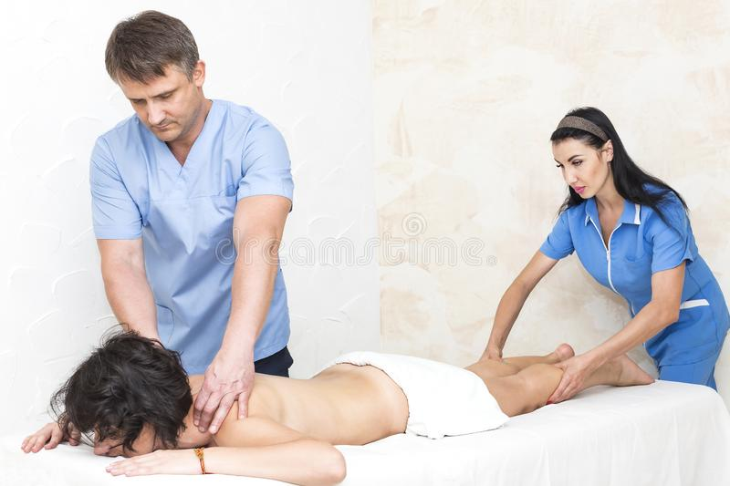 Procedure husband young girl massage royalty free stock images