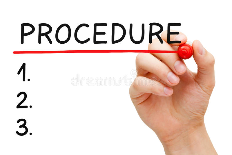 Procedure List. Hand writing Procedure list with marker isolated on white stock image