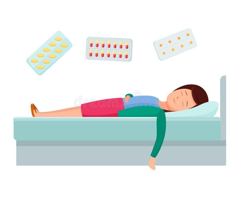 Procedure mediche in ospedale, farmaco di trattamento Concetto dell'aiuto di sanità dell'ospedale illustrazione vettoriale
