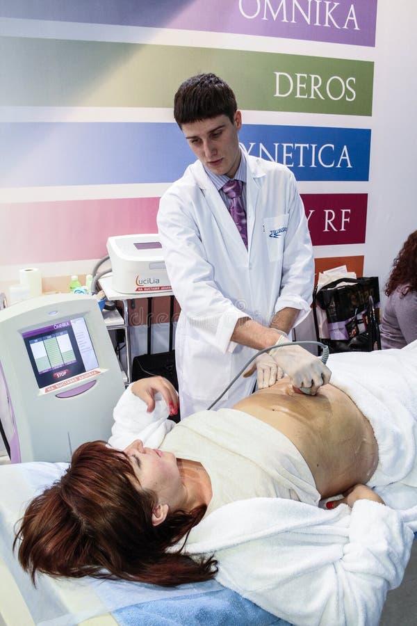 Procedure of vacuum massage royalty free stock images