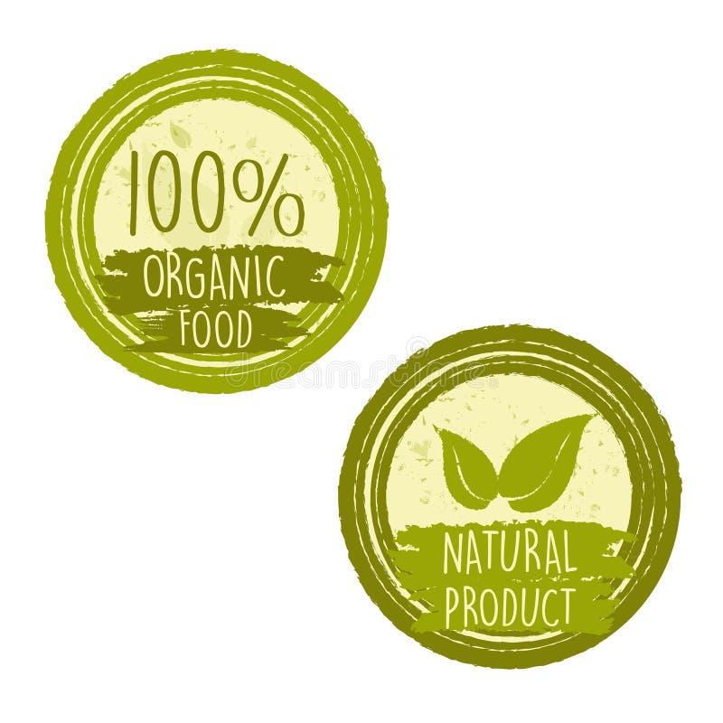 100 procentów żywność organiczna i naturalny produkt z liściem podpisujemy ilustracji