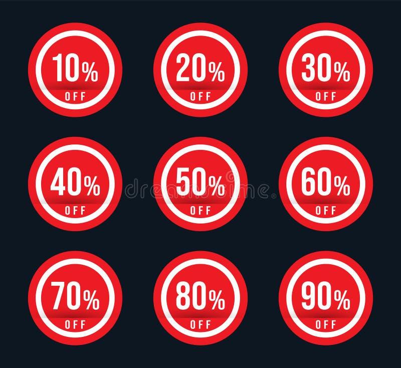 10 20 30 40 50 60 70 80 90 procentów daleko oferty specjalnej znak - czerwony sprzedaż znaczek ustawia - ilustracja wektor