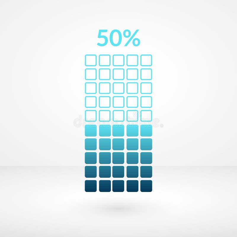 50 procentów kwadrata mapy odosobniony symbol Odsetka wektoru element Infographic diagrama znak Biznesowa ikona dla finanse, ścią ilustracja wektor