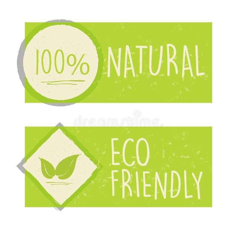 100 procentów naturalni i eco życzliwy z liściem podpisujemy wewnątrz zielonego zakaz ilustracji