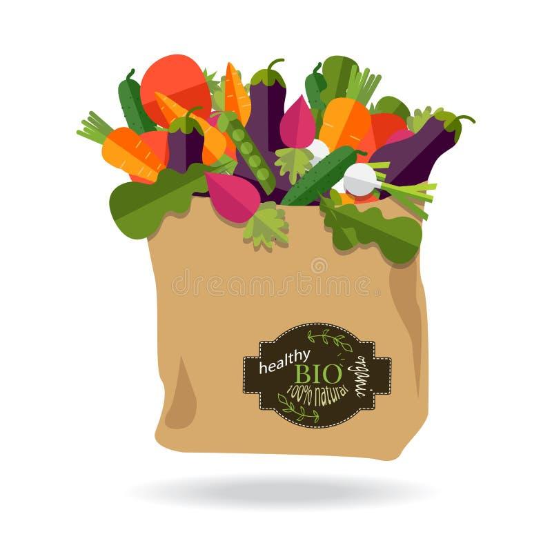 100 procentów naturalnych, organicznie na papierowej torbie pełno świeży vegeta royalty ilustracja