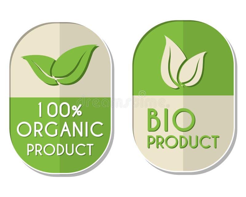 100 procentów organicznie i życiorys produkt z liścia znakiem, dwa elipsowaty ilustracja wektor