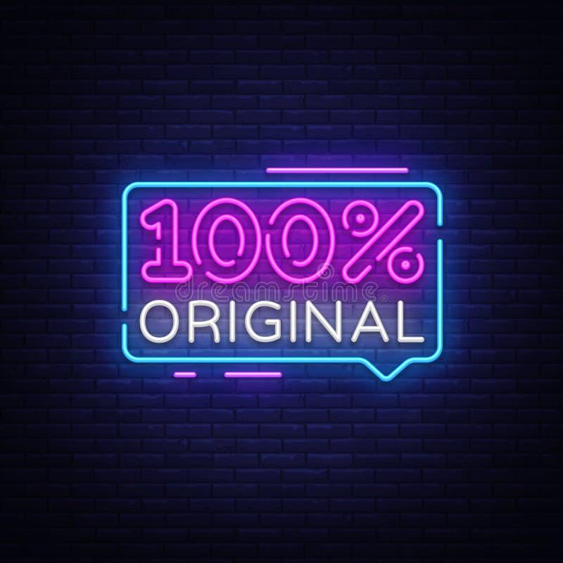 100 procentów oryginalnego neonowego teksta projekta wektorowy szablon 100 oryginalny neonowy znak, lekki sztandaru projekta elem ilustracji